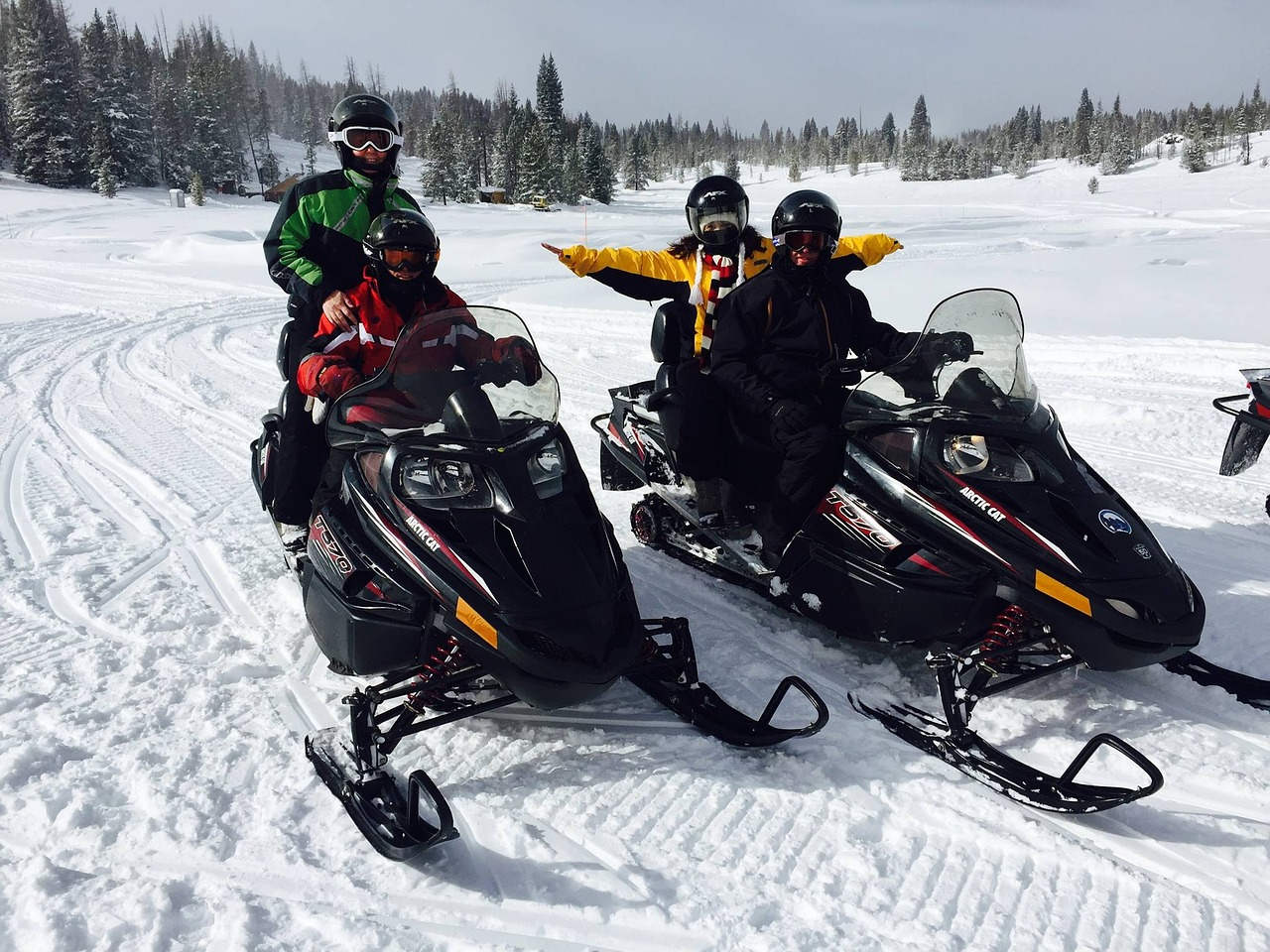 Snowmobile ride with kids