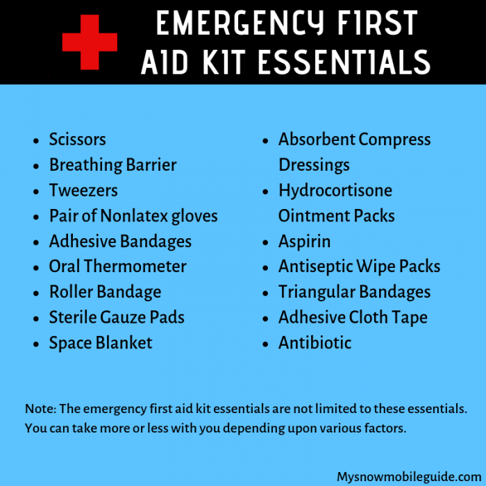 Always carry emergency first aid kit in your snowmobile backpack