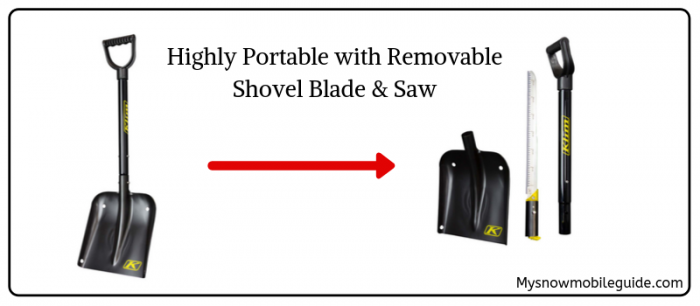 Klim Snowmobile Shovel with removable saw and shovel blade