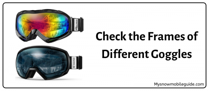 Frames of different types of snowmobile goggles
