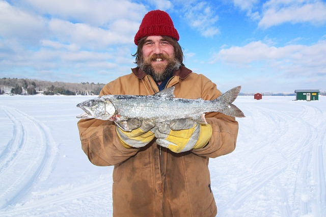 Ice fishing clothing for snowmobilers