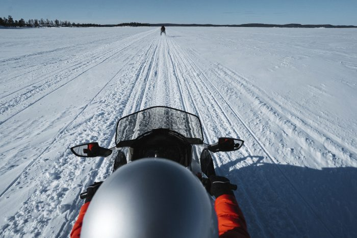 Burn calories by snowmobiling