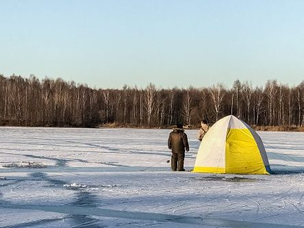 flip over ice shanty for fishing